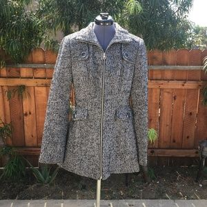 Nautica Zip-Front Tweed Peacoat
